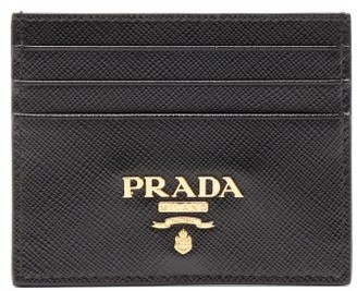 Prada Logo-plaque Saffiano-leather Cardholder - Black