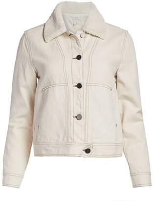 Joie Lev Faux Fur Collar Denim Jacket