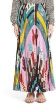 Valentino Women's Counting Print Plisse Crepe De Chine Midi Skirt
