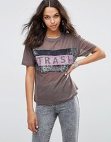 Asos T-Shirt with Trash Print in All Over Sequin