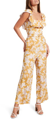 Ever New Samantha Floral Frill Belted Jumpsuit