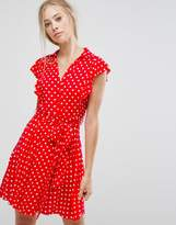 Pearl Ruffle Polka Shirt Dress