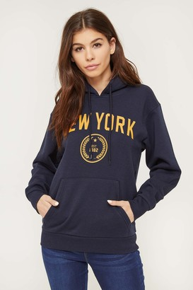Ardene Oversized Fleece-Lined Graphic Hoodie