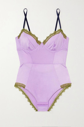 Dora Larsen Lily Lace And Stretch Satin-trimmed Jersey Underwired Bodysuit - Purple