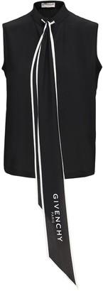Givenchy Scarf Collar Silk Sleeveless Top