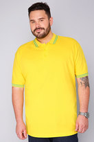 Yours Clothing BadRhino Yellow Short Sleeved Polo Shirt - TALL