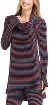 Cuddl Duds Black Stripe Softwear Stretch Cowl Neck Top