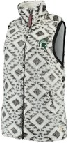 Unbranded Women's Pressbox White Michigan State Spartans Tribal Printed Poodle Fleece Vest