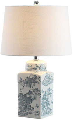 """Jonathan Y Designs Audrey Chinoiserie LED Table Lamp, Blue, White, 24.5"""""""