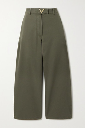 Valentino Cropped Cotton-twill Wide-leg Pants - Green