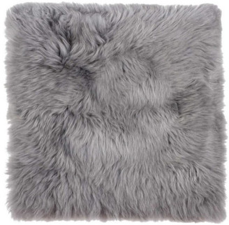 """HomeRoots 17"""" x 17"""" Natural, Sheepskin Seat/Chair Cover, Gray"""