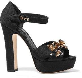 Dolce & Gabbana Embellished Brocade Platform Sandals