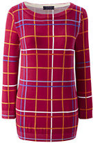 Classic Women's Supima 3/4 Sleeve Print Sweater-Black Animal Dot
