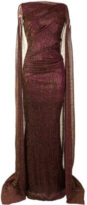 Talbot Runhof Bono cape-back gown