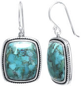 FINE JEWELRY Enhanced Turquoise Sterling Silver Rectangular Drop Earrings