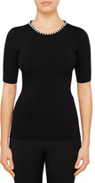 Alexander Wang S/S CREW NECK TOP WITH CRYSTAL CHAIN NECK TRIM