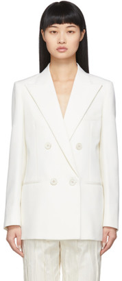 Saint Laurent White Wool Double-Breasted Blazer