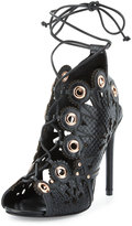Ivy Kirzhner Castille Snake-Embossed Lace-Up Sandal, Black