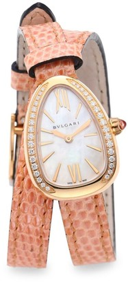 Bvlgari Serpenti Rose Gold & Diamond Double Twist Lizard Strap Watch