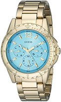 GUESS Women's U0590L2 Stainless Steel Gold-Tone Multi-Function Watch with Turqoise Dial, Day, Date & 24 Hour Int'l Time