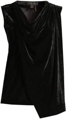 Donna Karan Drape Front Velvet Top