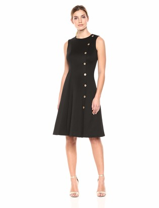 Calvin Klein Women's Sleeveless Fit and Flare Dress with Button Detail