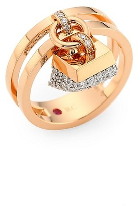Roberto Coin Sauvage Prive 18K Rose Gold Diamond Pave Charm Ring