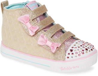Skechers Twinkle Toes Shuffle Lite Glitter Light-Up High Top Sneaker