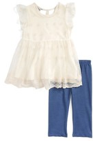 Toddler Girl's Pippa & Julie Lace Top & Leggings Set