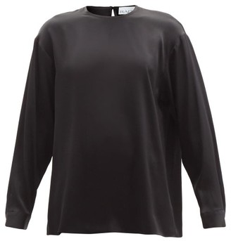 Raey Long-sleeved Silk-satin Blouse - Black