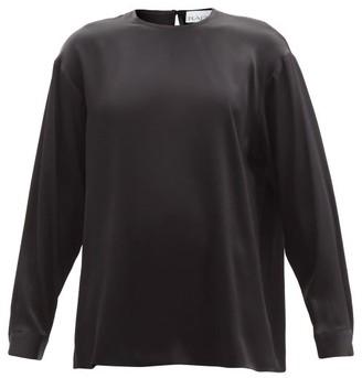 Raey Long-sleeved Silk-satin Blouse - Womens - Black