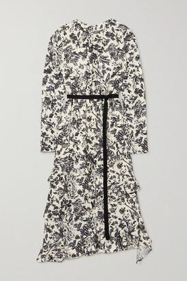 Jason Wu Belted Ruffled Floral-print Crepe De Chine Midi Dress