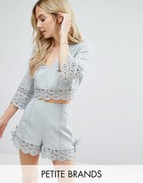Miss Selfridge Petite Miss Selfridge Crochet Lace Trim Crop Top
