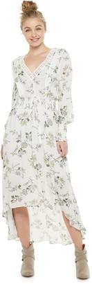 American Rag Juniors' Long Sleeve High-Low Maxi Dress