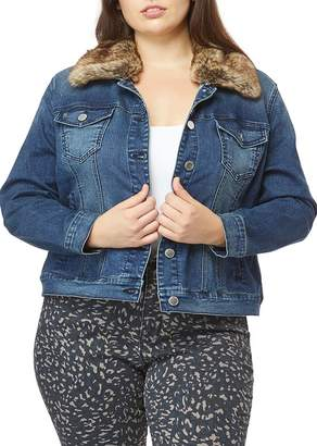 Curve Appeal Detachable Faux Fur Collar Denim Jacket