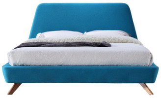 Omax Decor Henry Mid-Century Modern Upholstered Platform Bed, Blue, Queen