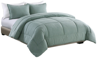 Epoch Hometex, Inc. Washed Cotton Comforter Mini Set, Green, Full/Queen