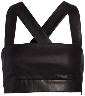 Rosetta Getty Leather Cross Back Bra Top