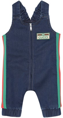 Gucci Kids Baby stretch-denim playsuit