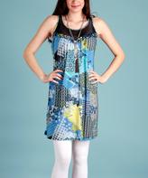 Blue & Yellow Geometric Sheer-Collar Tunic
