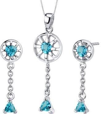 Oravo 2 ct Heart Cut Swiss Blue Topaz Earring Pendant Set in Sterling Silver