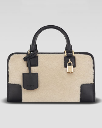 Loewe Amazona 28 Calf Hair Bag, Stone/Black