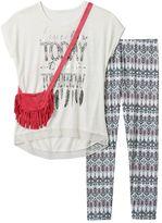 Self Esteem Girls 7-16 Graphic Tunic Tee, Leggings & Purse Set