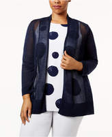 Alfani Plus Size Mixed-Stitch Open-Front Cardigan, Only at Macy's