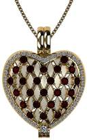 Nana Sterling Silver Heart Locket Mother's Pendant Yellow Gold Plated - Garnet Simulated Birthstone - Jan