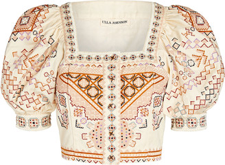 Ulla Johnson Kalila Embroidered Crop Top
