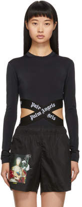 Palm Angels Black and White Cross Bodysuit