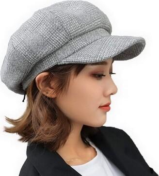Fancyland Women Vintage Baker Boy Cap Peaked Beret Hat Flat Cap Grey