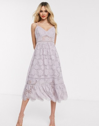 Forever New lace cami midi dress in lavender