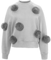 Tibi Pom Pom Sweatshirt in Heather Grey
